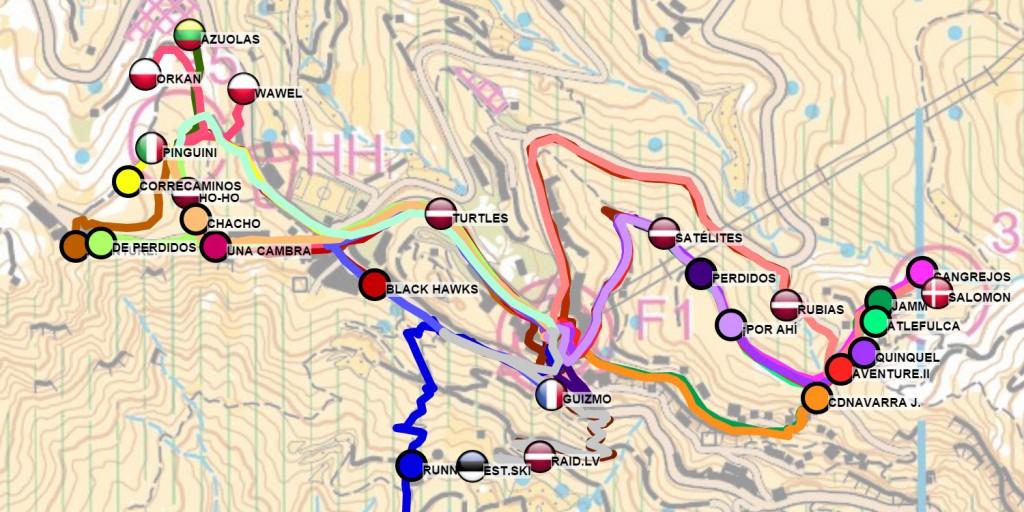 Team orienteering GPS trackers